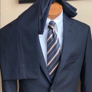 Pronto Uomo 2 Piece Wool Black Pinstripe Suit 40L